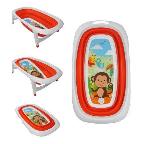 Baby Bath Time Foldable Orange Splash /& Play Monkey Design Transportable BathTub