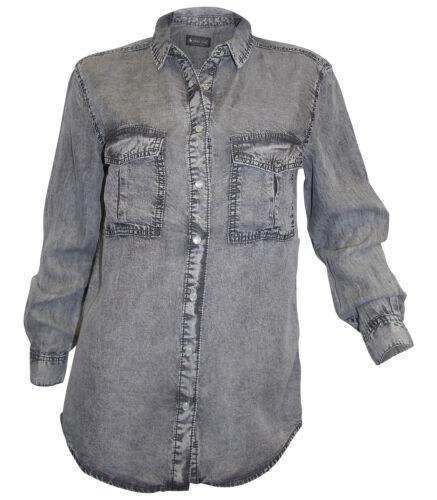 34 36 40 grey used Jeanshemd Jeans Bluse neu Jeansbluse Laura Scott Gr
