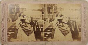 UK Scena Da Genere Donna Lascivo Musica Théâtre, Foto Stereo Vintage Albumina