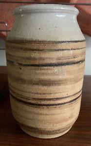 Vintage 70s Rounded Ceramic Stoneware Art Pottery Vase Mid Century Modern Signed