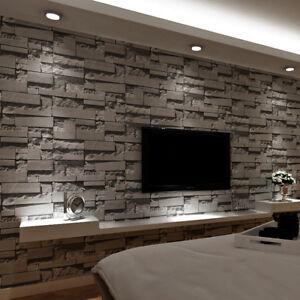 Details About Dark Grey Brick Wallpaper 3d Embossed Walls ModernFor Restaurant Cafe Home Decor