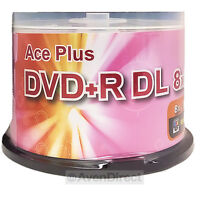 100 Aceplus 8x Silver Shiny Double Dual Layer Dvd+r Dl [free Priority Mail]