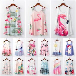 3a92271d912c0 Summer Women Tank Top Flamingo Print Sleeveless T-Shirt Casual Loose ...