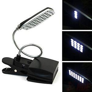 28 LED Flexible USB & Battery Clip-on Reading Lamp Computer Desk ...