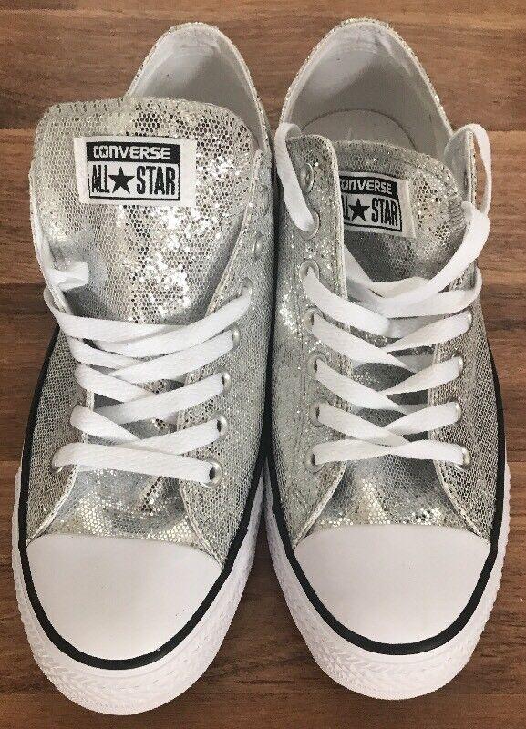 NWOB Converse All Lo Top Glitter Silver All Converse Star Ox 135851c  Damenschuhe 13  Uomo 11 Shiny d1f87d