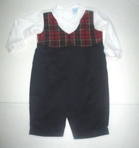 INFANT-BOYS-WILL-039-BETH-RED-WHITE-amp-BLUE-PLAID-VEST-JON-JON-LONGALL-OUTFIT-SZ-12-M