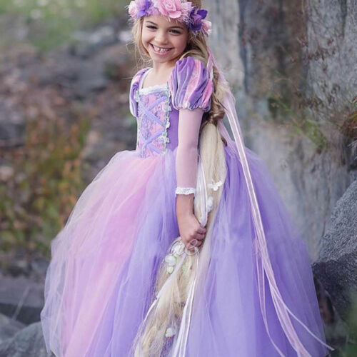 New Kids Disney Princess Costume Girls Cosplay Party Halloween Fancy Dress