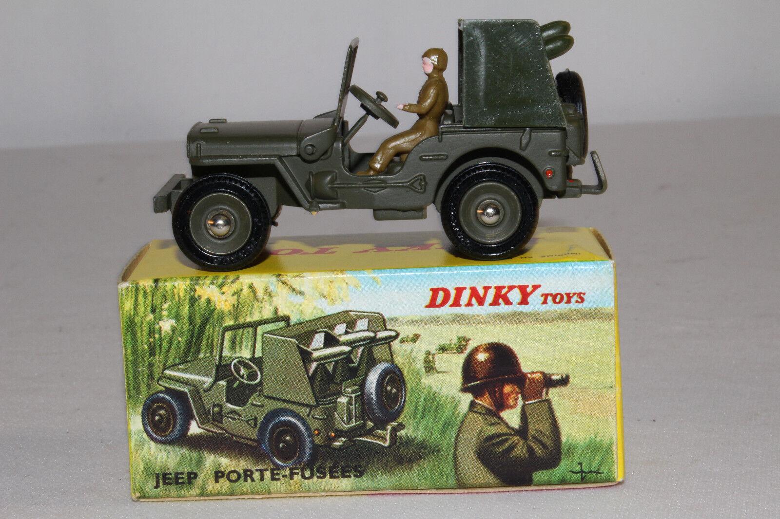 Década de 1960 francés Dinky  828 cohete portador Jeep, agradable con Caja Original Lote  16