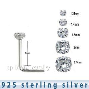 10pcs Wholesale 925 Sterling Silver Prong Set Cz L Shape Nose