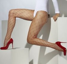 Ladies 80s 1980s Fishnet Tights Diamond Net Fancy Dress White New by Smiffys