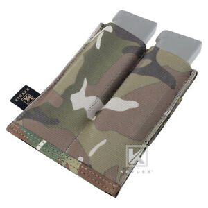 KRYDEX Double Pistol Open Top Mag Pouch Tactical Magazine Holster MOLLE Multicam