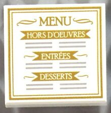 LEGO MENU TILE ~ White Printed 2x2  Minifigure Minifig Restaurant Food * NEW *