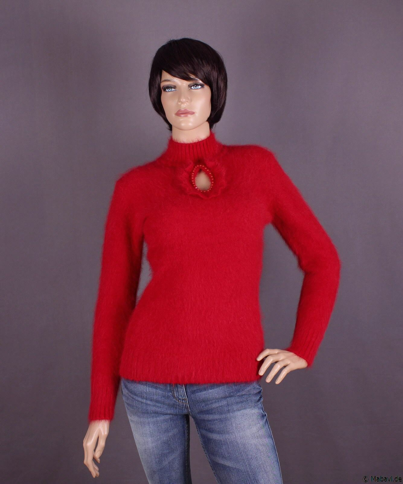Angora Damen Pullover, Farbe: rot und Größe: S, M oder L (nach Wahl)