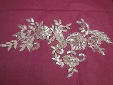 Large piece Ivory bridal sequins floral lace Applique bridal wedding lace motif