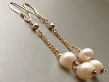 Beautiful Warm White Freshwater Potato Pearls 14ct Rolled Gold Earrings