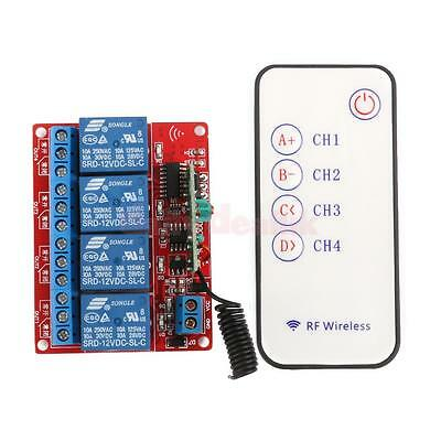 12V Four Channel 4CH RF Wireless Remote Controll Switch Relay Module 433MHz
