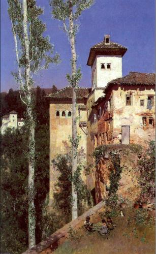 The Ladies/' Tower in the Alhambra Granada art Oil painting Ortega Martin Rico