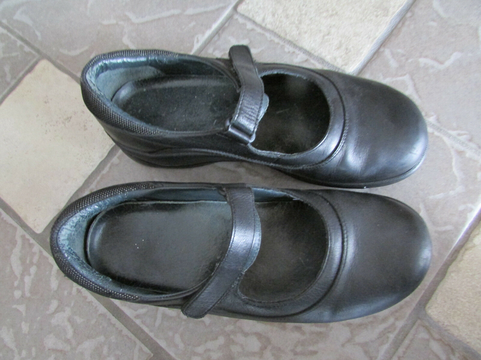 Dansko noir Mocassins chaussures Femme 40 9.5-10 Leather Mary Janes Free Ship