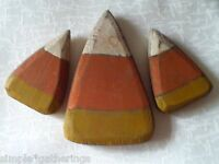 Set Of 3 - Wood Candy Corn Primitive Grungy Shelf Sitters, Halloween Crafts Fall