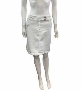 Ann-Taylor-Women-s-Size-12-Solid-White-Denim-Striaght-Skirt