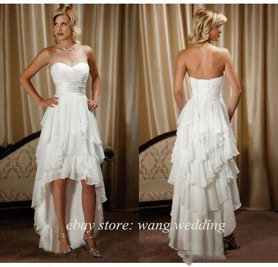 High Low Country Wedding Dresses Sweetheart Tiered Ruffles Chiffon Bridal Gowns Ebay