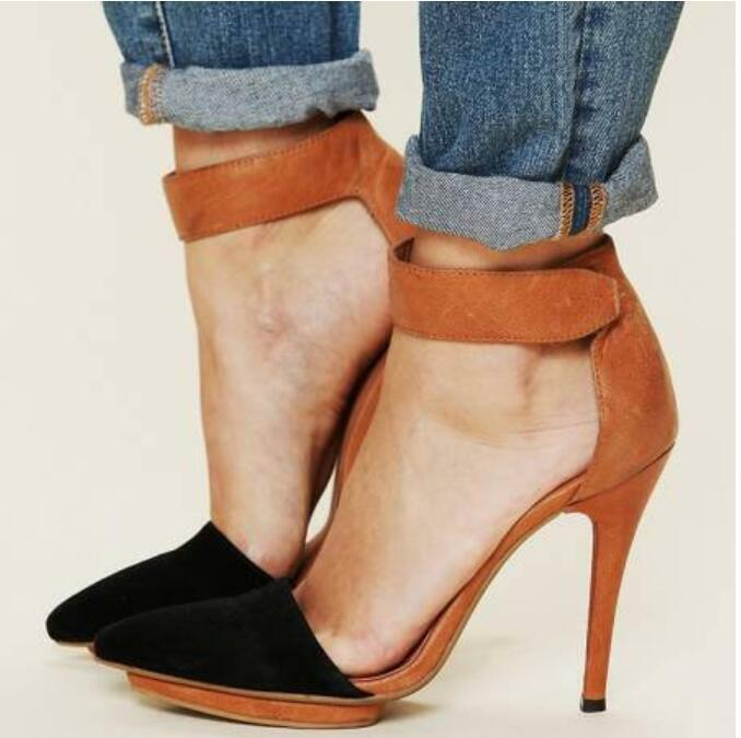 Sexy Womens Oxford Ankle Strap Pointy Toe Stilettos High Heel shoes Sz35-43