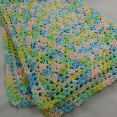 Pastel green hand knit baby blanket
