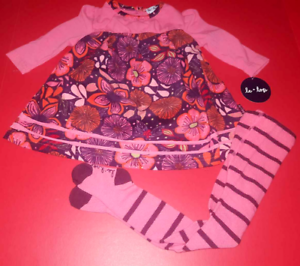 80df8421c LE TOP LETOP FLORAL DRESS & Striped Tights Set Baby Girl 9 mos ...