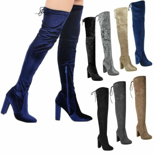 NEW LADIES WOMENS STRETCH THIGH HIGH OVER THE KNEE BLOCK HEEL BOOTS SHOES SIZE