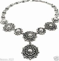 TAXCO MEXICAN 925 STERLING SILVER DECO SCROLL BEADED NECKLACE MEXICO
