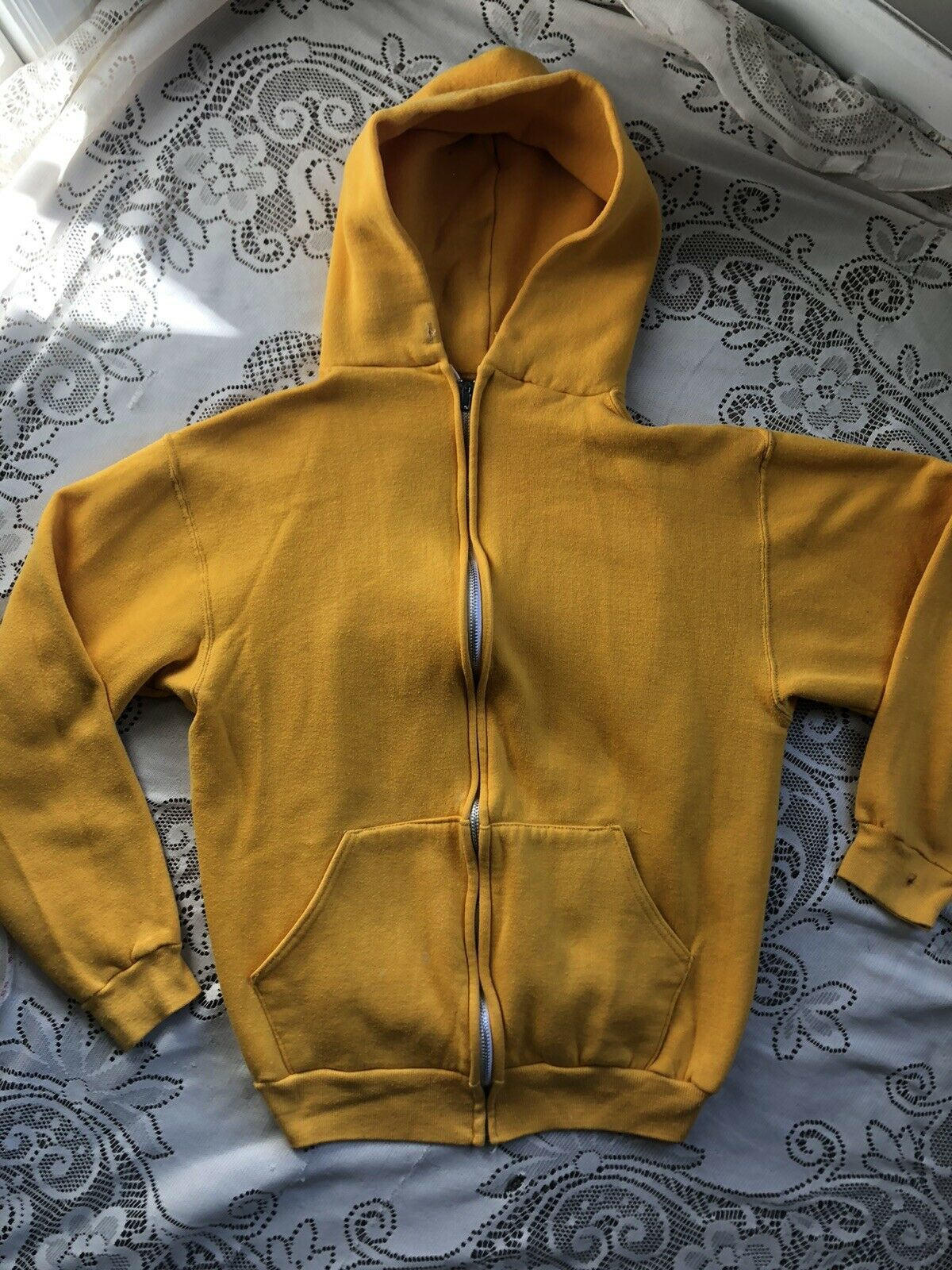 Vtg 70's 80's Russell Athletic Yellow Zip up Hood… - image 5