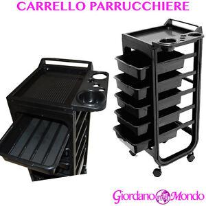 CARRELLO PARRUCCHIERE 5 CASSETTI PROFESSIONALE NERO PARRUCCHIERI  PORTA UTENSILI