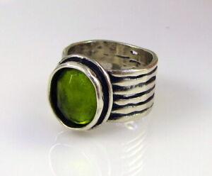 Estate-SILPADA-Wide-Sterling-Silver-Bright-Green-Oval-Peridot-Size-5-5-Ring