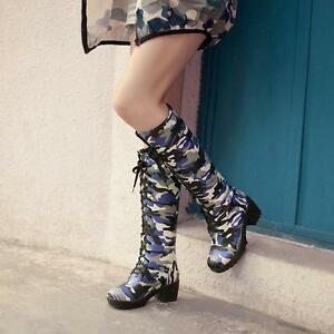 Women-Chunky-Heels-Camo-Round-Toe-Combat-Military-Knee-High-Boots-Lace-Up-Shoes