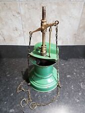 victorian enamel gas lamp origional green ceiling railway light lamp steampunk