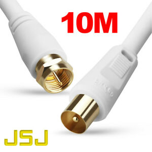 10m-TV-Antenna-Cable-PAL-Male-to-F-Type-Flylead-Aerial-Cord-Coax-Lead