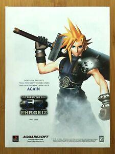Ehrgeiz PS1 1999 Print Ad/Poster Official CLOUD STRIFE Final Fantasy VII 7 Art