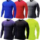 Mens Long Sleeve Sports T-shirts Compression Thermal Under Shirts Base Layer Top