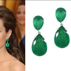3-00-CT-Green-Emerald-Solid-925-Sterling-Silver-Tear-Drop-Earrings-For-Women-039-s