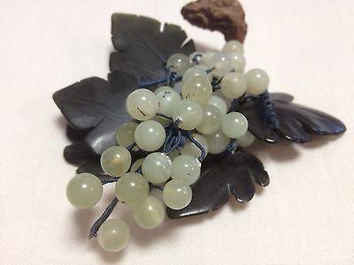 Vintage Jade Mistletoe Hand Carved Mistletoe/Grape Corsage Brooch/Display