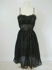 Vtg-60-039-s-Styled-By-Flare-Sheer-Black-Chemise-Nighty-Womens-S-Sexy-Bombshell