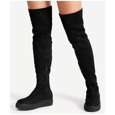 Forever REGAN-45 Black Faux Suede Thigh High Platform Creeper Sneaker Boot