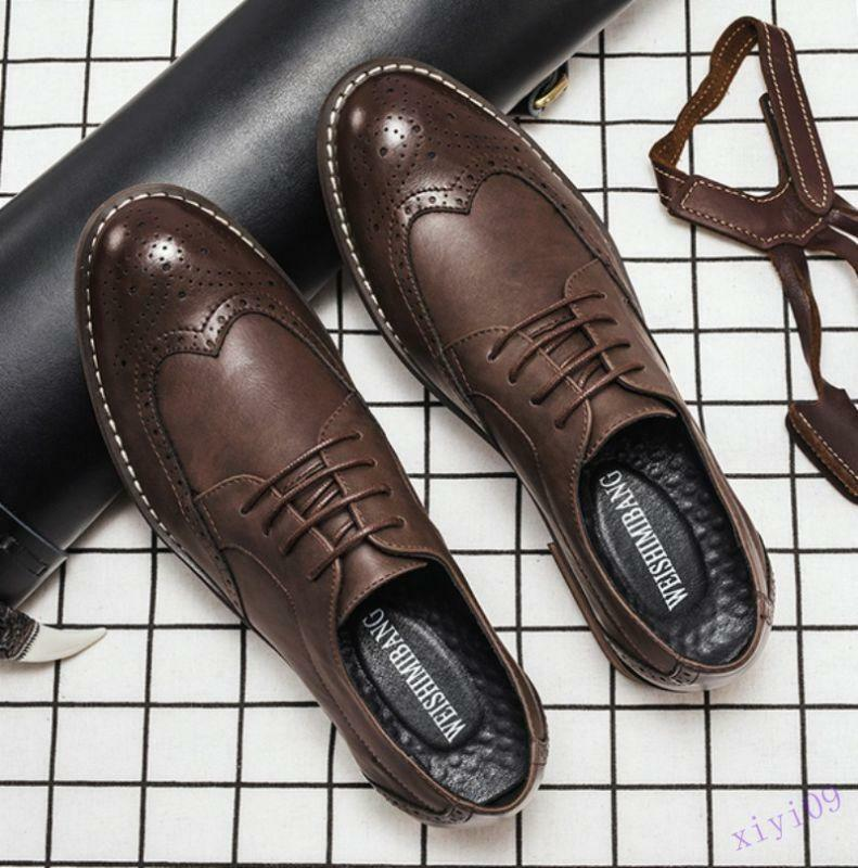 Mens business Brogue shoes Lace Up Leather Dress Formal Wing Tip Oxfords