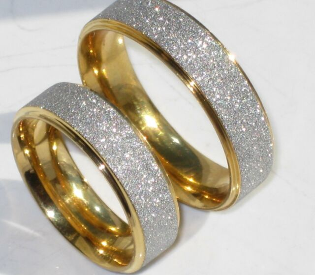 2tone 6MM MAN'S LADIES wedding ring BAND RING STR208 gold  STAINLESS STEEL