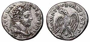 *AET* CARACALLA AR Tetradrachm. EF. Laodicea ad Mare mint. Eagle to left - Star.