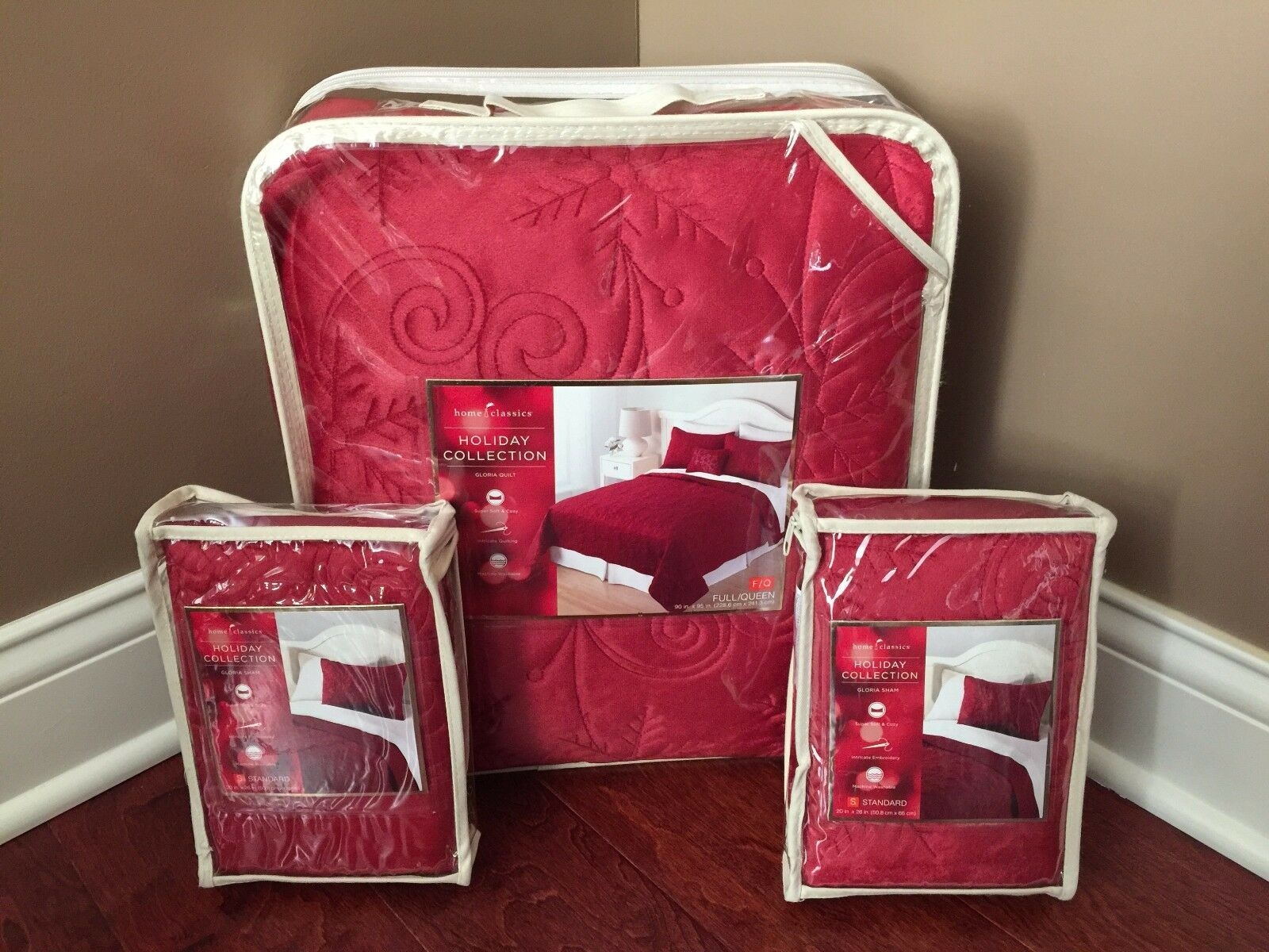 HOME CLASSICS Quilt & Shams FULL QUEEN Bedding RED Whimsical Snowflake Swirl NWT