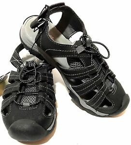 1eb90262827e Eddie Bauer Boys Bump Toe Kids Sandal No-Tie Shoe Black Grey~Youth ...