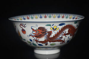 Chinese-Colorful-porcelain-Hand-Painted-Dragon-Bowl-Qing-Dynasty-marker