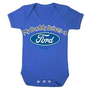 Ford-Babygrow-Baby-Romper-Sleep-Suit-Genuine-Licensed-Logo-My-Daddy-Drives-RS-ST