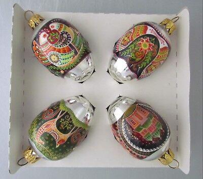 4 Glass Xmas Ornaments, Flowers, Dears, Birds, Church Yard, Wrapped #4-5
